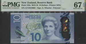 TT PK 192a 2015-16 NEW ZEALAND 10 DOLLARS KATE SHEPPARD PMG 67 EPQ SUPERB GEM!