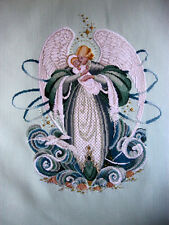 "Completed Finished cross stitch  ""ANGEL OF THE SEA"" BY LAVENDER AND LACE."