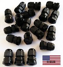 80 Pcs New PG7 Black Plastic Waterproof Connector Gland 3-6.5mm Dia Cable