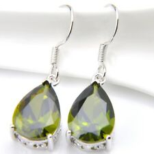 Perfect Birthday Gift Natural Olive Peridot Gemstone Silver Dangle Drop Earrings