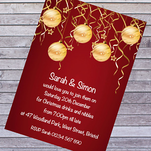 PERSONALISED CHRISTMAS PARTY, LUNCH, DRINKS & NIBBLES, NEW YEAR INVITATIONS  x10