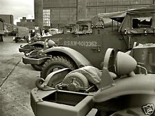 WW2 B&W Photo M3 Armored Scout Cars at  Factory  WWII World War Two US Army