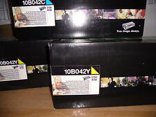 Lot of 3 Genuine Lexmark 10B042Y 10B042C Toner Cartidges  NIB Free Shipping