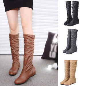 Women Riding Boots Fold Over Design Near The Ankle with Lace Detailing