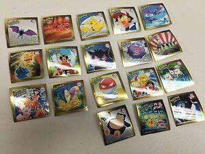 Pokemon Complete Set of Rare Artbox 1999 Gold Stickers R01-R18