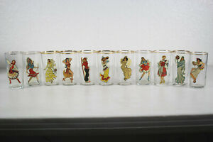 RARE SET 11 VINTAGE 1940s GIRL PINUP NUDE NUDIE PEEK A BOO GLASSES EXCELLENT!