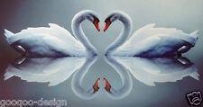 Kit punto croce LOVE CIGNI CUORE 32X62 cm Swan fai te #80277