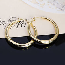"""Awesome New 18K Yellow Gold Plated Smooth & Shiny 1.25"""" Round Hoop Earrings"""