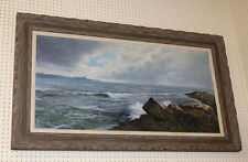 HUGE Dramatic Oil Painting of Waves Crashing Rocks SIGNED Great Condition!