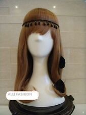 Boho Indian Black  Feather Leaf Tassels Hairdress Weave Headpieces Headband
