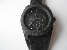 Fossil men's chronograph blk leather band Analog & water resistant watch.Fs-4617