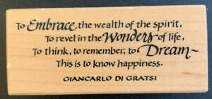 PSX F-3503 Giancarlo Di Gratsi This Is To Know Happiness Rubber Stamp