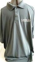 Lexus Logo-Mens Golf Polo Shirt, Extra Large-XL, Gray, Mesh Sides/Quik Dry