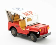 Vintage K Co. Military Jeep Red & White Tin Toy Model Vehicle Made in Japan 7.5""