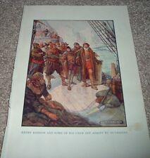 1919 Explorer HENRY HUDSON & SOME CREW SET ADRIFT BY MUTINEERS J R Skelton Print