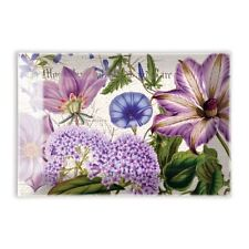 Michel Design Works Glass Trinket / Soap Dish Rhapsody Purple Floral - NEW