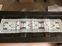 Vintage white rectangular table runner / centre