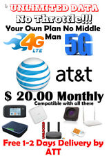 At&T Unlimited 4G Lte Data Account Att $20 / Monthly Your Plan!