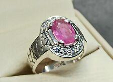 Natural 3 Carat Ceylon Pink Sapphire Sterling Silver 925 Handmade Women Ring
