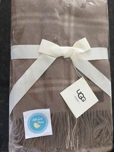 UGG Wool Throw blanket Windowpane in Sugar Pine  50 x 70 New with tags