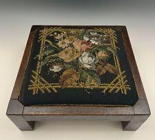 Arts & Crafts Mission Footstool Original Finish Fine Period Beaded Needlepoint