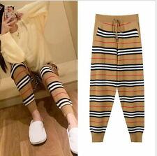 Loose Khaki White Striped Drawstring Pocket Knitted Pants Runway 102m
