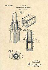 Official Chanel Lipstick Makeup US Patent Art Print - Vintage Antique Avon - 143