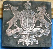Antique Copper Printing Block WURTTEMBERG GERMANY Coat Of Arms * MC Lilley