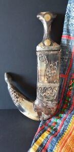 Old Yemeni Jambiya Kanjar or Arabic Dagger Horn Sheath Coins Handle 1914…