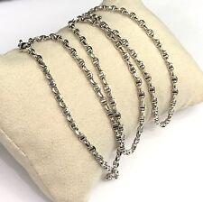 18k Solid White Gold Italian Gucci Unisex Chain Necklace, Diamond Cut, 5.44grams