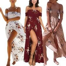 Damen Sommer Kleid Festlich Abend Party Chiffon Gala Cocktailkleid Lang Empire