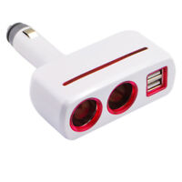12/24V 3.1A Dual USB Car Charger Adapter with 2 Socket Cigarette Lighter Adapter