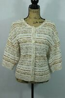 ST JOHN Knit Cardigan Medium Chunky Texture Sweater Wool Blend Quarter Sleeve