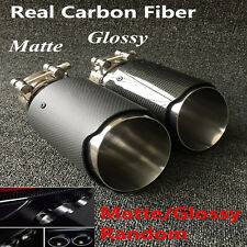 Universal Glossy/Matte Carbon Fiber Exhaust Tip 63MM IN-101MM OUT Muffler Tip 1x