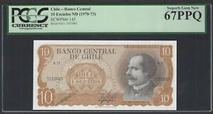 Chile 10 Escudos ND(1970-73) P143 Uncirculated Graded 67