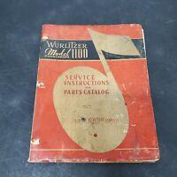 Wurlitzer 1100 Jukebox Service Instructions Parts Catalog Book VTG Original