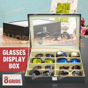 8 Grids Sunglasses Glasses Display Storage Case Box Organizer Holder PU Leather