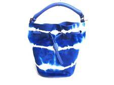 Auth meli melo Blue LightGray Spawn & Leather Handbag