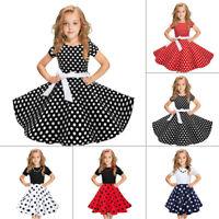 Children Kids Girl Vintage Dress Polka Dot Princess Swing Rockabilly Party Dress