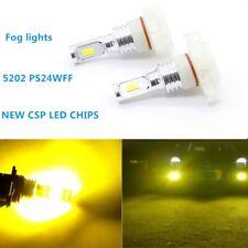 Pair 2504 PSX24W 100W LED Fog Light Bulbs Upgrade Lamps CSP 3000K YELLOW US