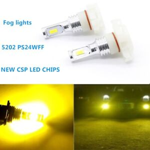 Pair 2504 PSX24W 100W LED Fog Light Bulbs Upgrade Lamps CSP 3000K YELLOW US