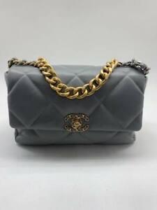 CHANEL 19 FLAP BAG Leather Grey Lambskin Strap Cross-boddy Women