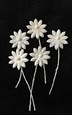 20 flowers White tiny mulberry paper Daisy tear bears miniatures bouquets crafts
