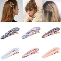 6pcs Acrylic Hair Slide Clips Resin Hairpins Tortoise Snap Barrettes New 2019_EO