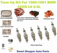 Tune Up Kit for 90-91 BMW 325iS Spark Plug, Cap Rotor Drive Belt Air  Oil Filter