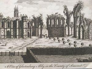 1760 Antique Print; Glastonbury Abbey, Somerset