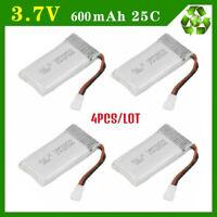4 Pcs 3.7V Rechargable Lipo Battery 600mAh for Syma X5 X5C H107L H107C RC BT