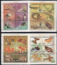 Chad 769-773A Butterflies, Mushrooms, Birds and Animals Mint NH