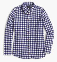 J Crew Top Blue Plaid Check Flannel Shirt Women's Size 2 BoyFriend Cotton Soft