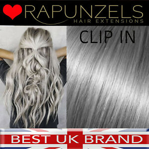 Grey Silver CLIP-IN hair extensions FULL HEAD 7p/c set straight human remy hair